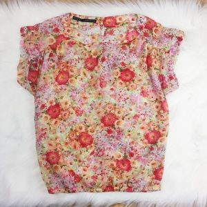 Zara Thin Pink Floral Short Sleeve Top. SS1